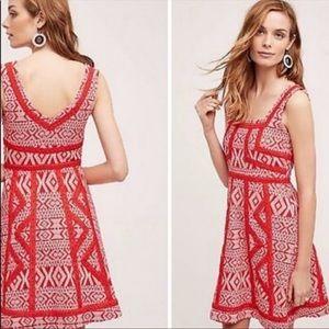 ANTHRO▪️Maeve Emma Red Embroidered Dress. Sz 10